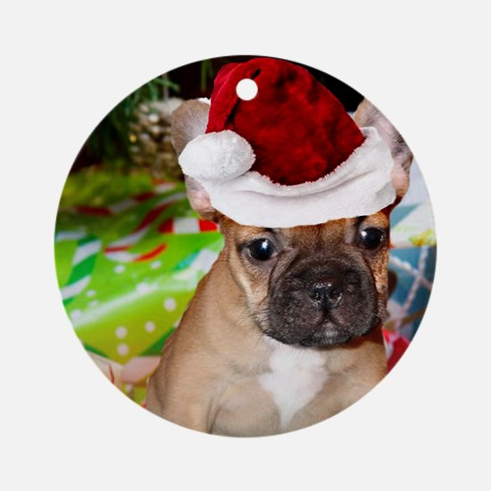 christmas French bulldog 4a Ornament (Round)