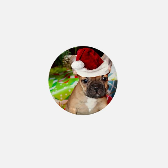 christmas French bulldog 4a Mini Button