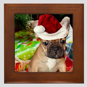 christmas French bulldog 4a Framed Tile