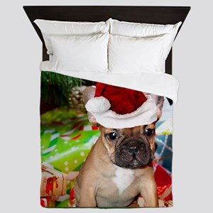 christmas French bulldog 4a Queen Duvet