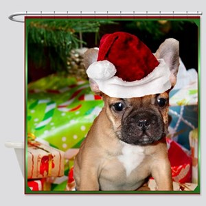 christmas French bulldog 4a Shower Curtain