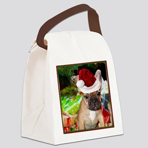 christmas French bulldog 4a Canvas Lunch Bag