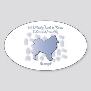 Learned Samoyed Oval Sticker