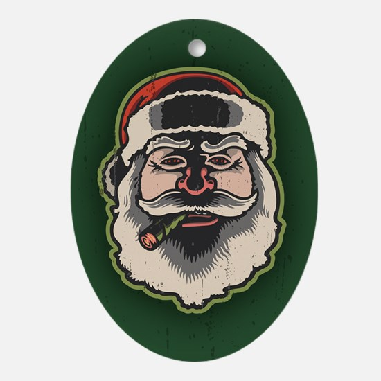 smokin-santa-STKR Oval Ornament