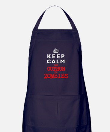 KEEP CALM but OUTRUN the ZOMBIES Apron (dark)