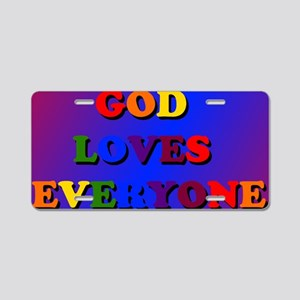 God loves everyone blanket Aluminum License Plate