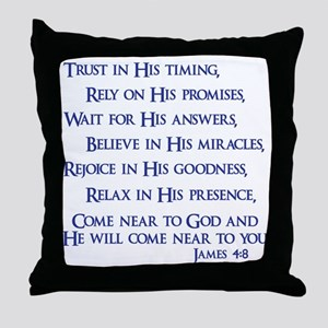 navy, James 4_8 Throw Pillow