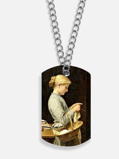 Albert Anker - Knitting Girl Dog Tags