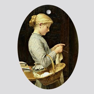 Albert Anker - Knitting Girl Oval Ornament