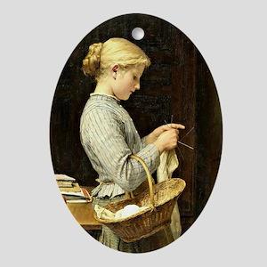 Albert Anker - Knitting Girl Oval Ornament