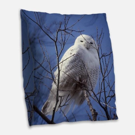 Snowy White Owl Burlap Throw Pillow