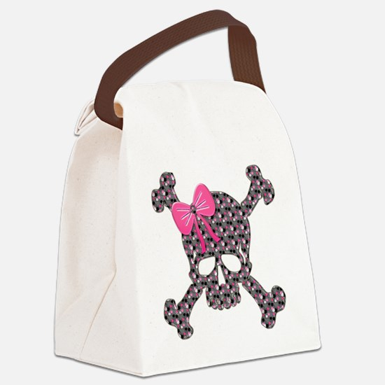 Heart Skull pink flowers copy Canvas Lunch Bag