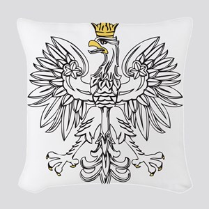 Polish Eagle With Gold Crown Woven Throw Pillow