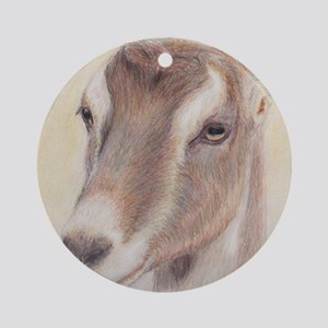 LaMancha Doe Portrait Round Ornament
