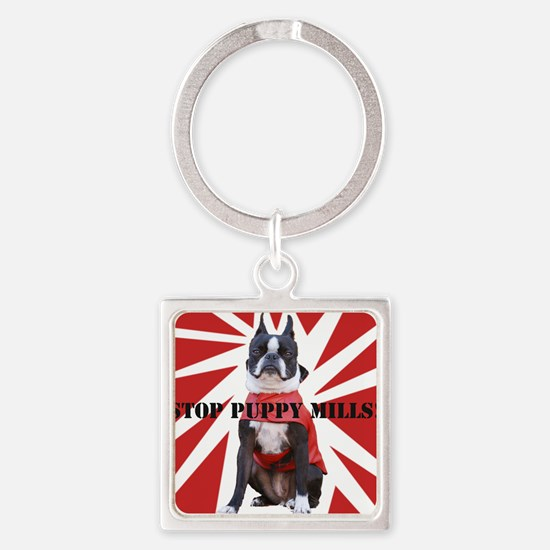 10x10_StopPuppyMill Square Keychain