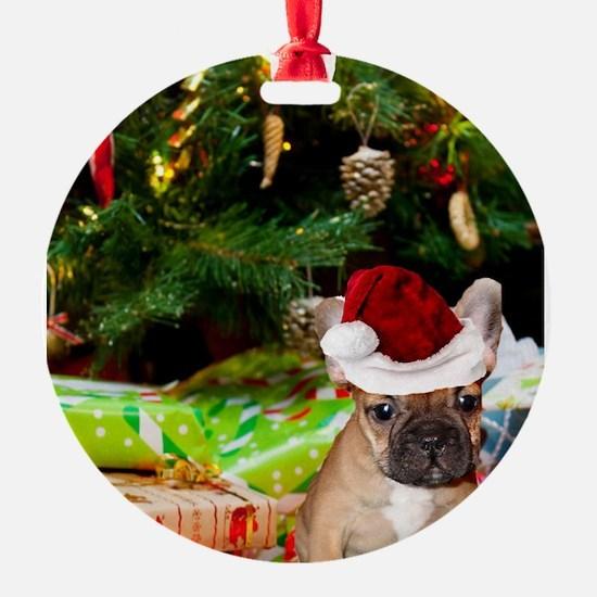 christmas French bulldog 4 Ornament