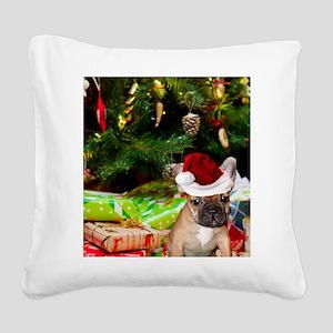christmas French bulldog 4 Square Canvas Pillow