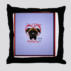 HeartcharmI Love My Boxer Dog Throw Pillow