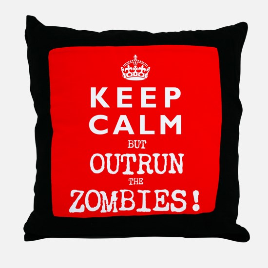 KEEP CALM but OUTRUN the ZOMBIES wr - Throw Pillow