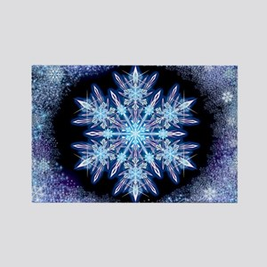 October Snowflake - wide Rectangle Magnet