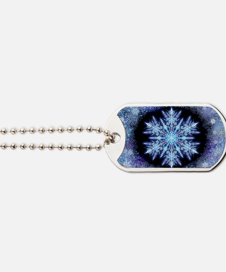 October Snowflake - wide Dog Tags