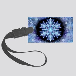 October Snowflake - wide Large Luggage Tag