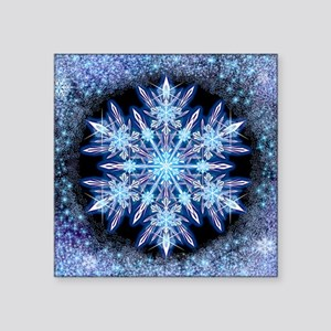 "October Snowflake - square Square Sticker 3"" x 3"""