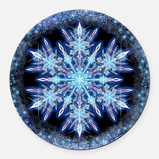 October Snowflake - square Round Car Magnet