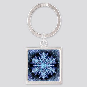 October Snowflake - square Square Keychain