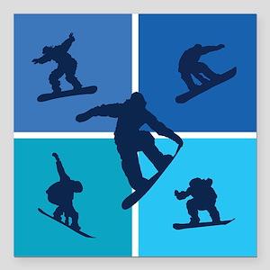 "snowboarding Square Car Magnet 3"" x 3"""