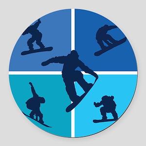 snowboarding Round Car Magnet