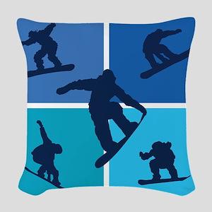 snowboarding Woven Throw Pillow