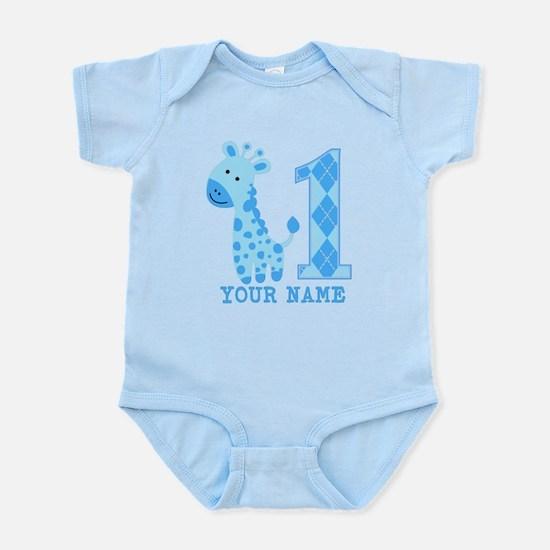 Blue Giraffe First Birthday Infant Bodysuit