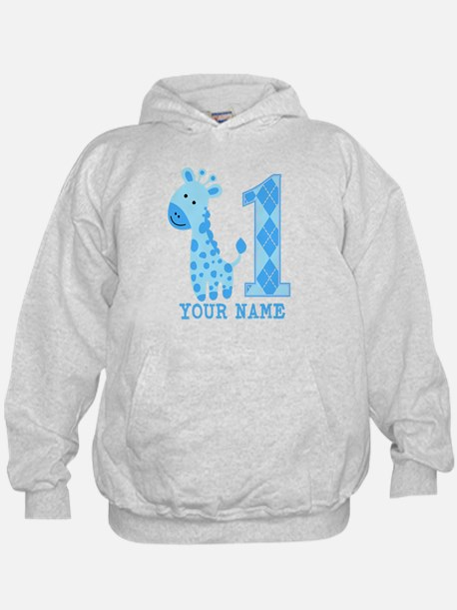 Blue Giraffe First Birthday Hoodie