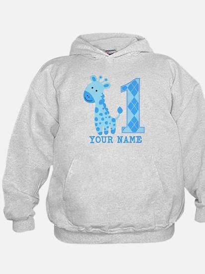 Blue Giraffe First Birthday Hoody