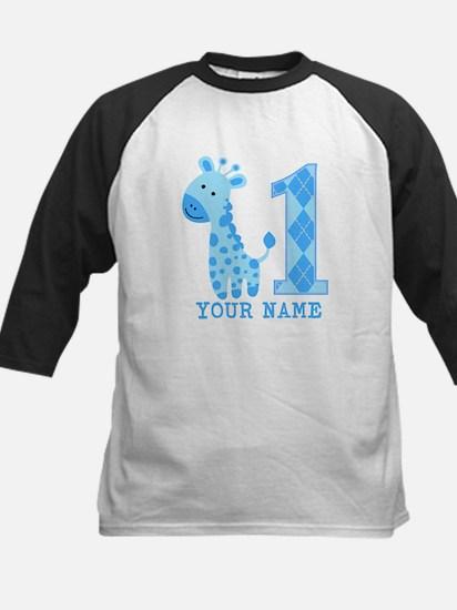 Blue Giraffe First Birthday Kids Baseball Jersey