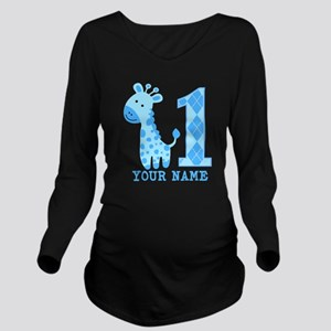 Blue Giraffe First Birthday Long Sleeve Maternity