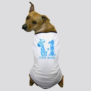 Blue Giraffe First Birthday Dog T-Shirt