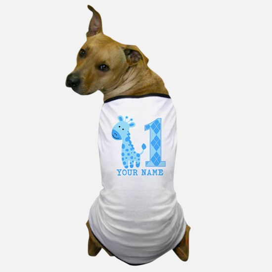 Blue Giraffe First Birthday Dog T-Shirt