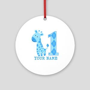 Blue Giraffe First Birthday Ornament (Round)