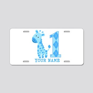Blue Giraffe First Birthday Aluminum License Plate