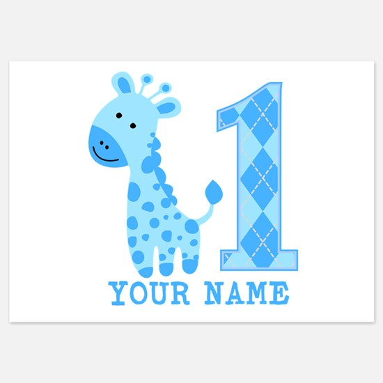 Blue Giraffe First Birthday Invitations