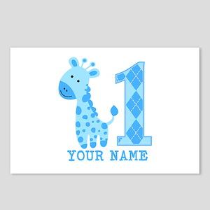 Blue Giraffe First Birthday Postcards (Package of