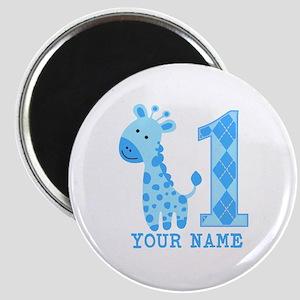 Blue Giraffe First Birthday Magnet