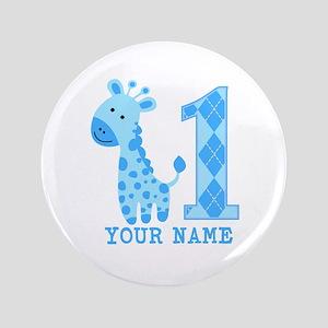 "Blue Giraffe First Birthday 3.5"" Button"