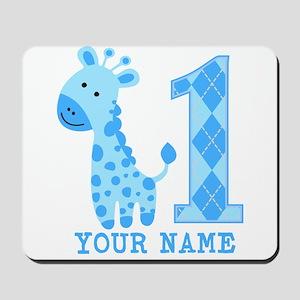 Blue Giraffe First Birthday Mousepad