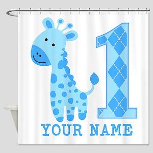 Blue Giraffe First Birthday Shower Curtain