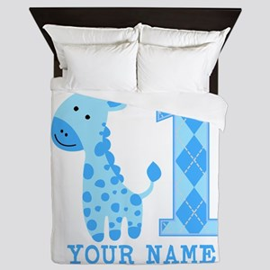 Blue Giraffe First Birthday Queen Duvet