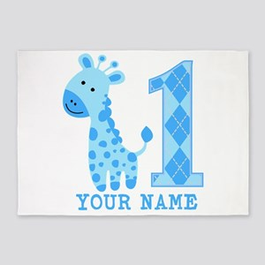 Blue Giraffe First Birthday 5'x7'Area Rug