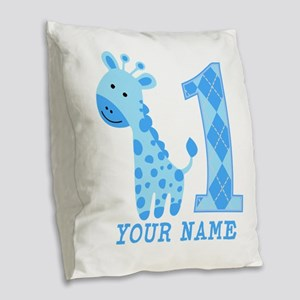 Blue Giraffe First Birthday Burlap Throw Pillow